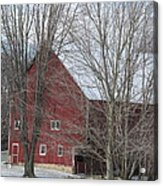Snow On Red Barn Roof Acrylic Print