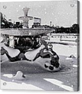 Snow On The Fountain Acrylic Print