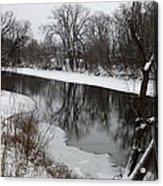 Snow On The River Acrylic Print