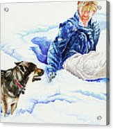 Snow Play Sadie And Andrew Acrylic Print by Carolyn Coffey Wallace