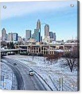 Snow Plowed Public Roads In Charlotte Nc Acrylic Print