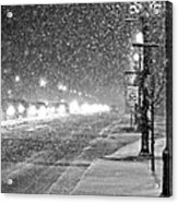 Snow Rush In Black And White Acrylic Print