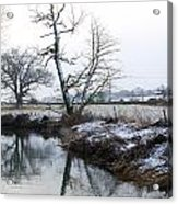 Snow Scene With River Running Through Acrylic Print by Fizzy Image