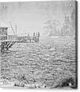 Snow Storm In Bass Harbor On Mount Desert Island Maine Acrylic Print