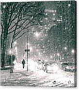 Snow Swirls At Night In New York City Acrylic Print by Vivienne Gucwa