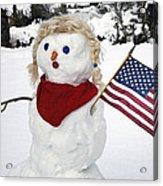 Snow Woman With Flag Acrylic Print