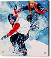 Snowboard Psyched Acrylic Print by Hanne Lore Koehler
