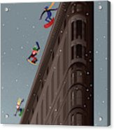 Snowboarders Fly Off The Flatiron Halfpipe Acrylic Print