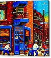 Snowday Hockey Practice Wilenskys Corner Fairmount And Clark Montreal City Scene Carole Spandau Acrylic Print