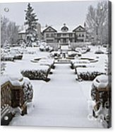 Snowfall At Longview Mansion Acrylic Print