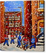 Snowfall Hockey Game Winter City Scene Acrylic Print by Carole Spandau
