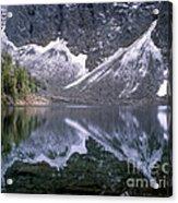 Snowfield Reflection On Blue Lake  Acrylic Print
