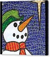 Snowman And Star Acrylic Print