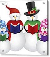 Snowman Christmas Carolers Illustration Acrylic Print
