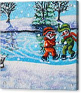 Snowman Friends Ice Skating  P2 Acrylic Print