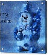Snowman Merry Christmas Photo Art 01 Acrylic Print