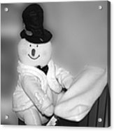 Snowman Playing The Piano In Bw Acrylic Print