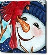 Snowman W/ Cardinal Visitor Acrylic Print