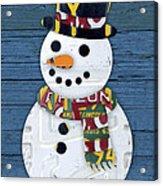 Snowman Winter Fun License Plate Art Acrylic Print