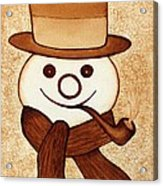 Snowman With Pipe And Topper Original Coffee Painting Acrylic Print