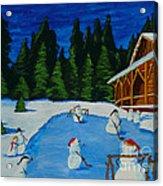 Snowmans Hockey Two Acrylic Print
