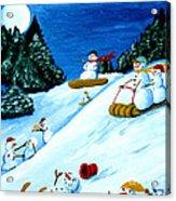 Snowmans Winter Sports Acrylic Print