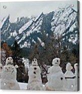 Flatiron Snowmen. Acrylic Print