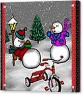 Snowmen Playing Acrylic Print