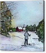 Snowshoeing In Northern Maine Acrylic Print