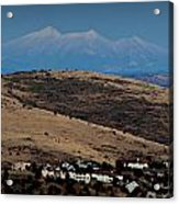 Snowy Arizona Peaks And Prairie Hills Acrylic Print