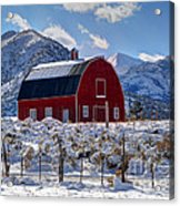 Snowy Barn In The Mountains - Utah Acrylic Print