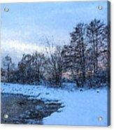 Snowy Beach Impressions Acrylic Print