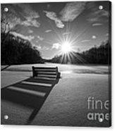 Snowy Bench Bw Acrylic Print