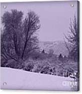 Snowy Bench In Purple Acrylic Print