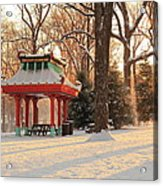 Snowy Chinese Shelter Acrylic Print