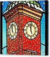 Snowy Clock Tower Acrylic Print
