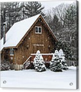 Snowy Country Cottage Acrylic Print