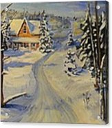 Snowy Country Road Acrylic Print
