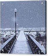 Snowy Day On The Boardwalk Acrylic Print