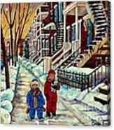 Snowy Day Rue Fabre Le Plateau Montreal Art Winter City Scenes Paintings Carole Spandau Acrylic Print