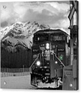 Snowy Engine Through The Rockies Acrylic Print