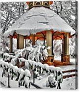 Snowy Gazebo - Greensboro North Carolina I Acrylic Print by Dan Carmichael