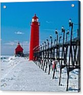 Snowy Grand Haven Pier Acrylic Print