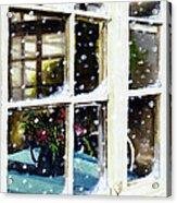Snowy Inn Window Acrylic Print