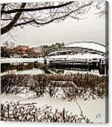 Snowy Landscape At Symphony Park Charlotte North Carolina Acrylic Print