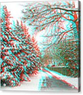 Snowy Lane - Use Red/cyan Filtered 3d Glasses Acrylic Print