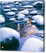Snowy Merced River With Reflection Acrylic Print