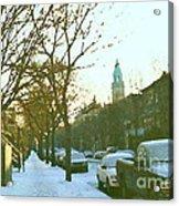 Snowy Montreal Winters City Scene Paintings Verdun Memories Church Across The Street Acrylic Print