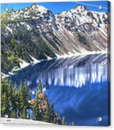 Snowy Mountains Reflected In Crater Lake Acrylic Print