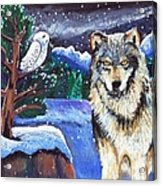 Snowy Night Wolf Acrylic Print